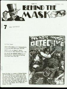 BEHIND THE MASK 1991 #7-PULP FANZINE-BLACK HOOD FN