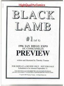 BLACK LAMB #1 Black and White Promo, Tim Truman, 1996, VF/NM, Preview, more in