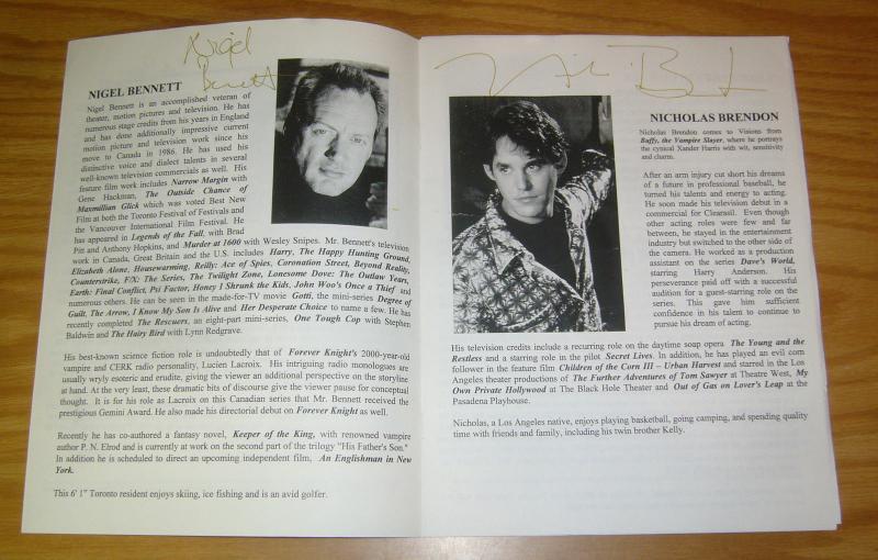 Visions '98 Program VF- signed by nicholas brendon, sylvester mccoy, & more