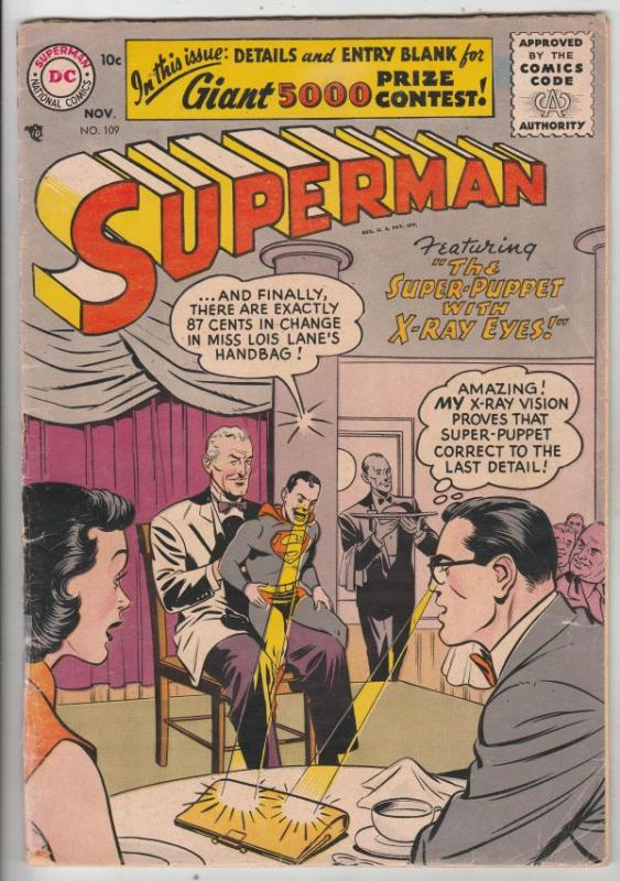 Superman #109 (Nov-56) VG+ Mid-Grade Superman, Jimmy Olsen,Lois Lane, Lana La...