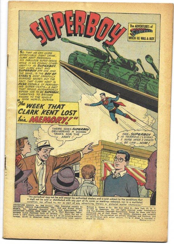 COVERLESS: Adventure Comics #268 DC 1960 Superboy Aquaman Green Arrow