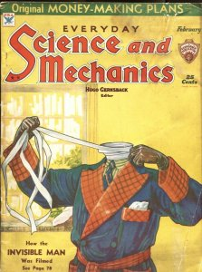 SCIENCE AND MECHANICS-1934 FEB--INVISIBLE MAN COVER & FILM STORY--GERNSBACK