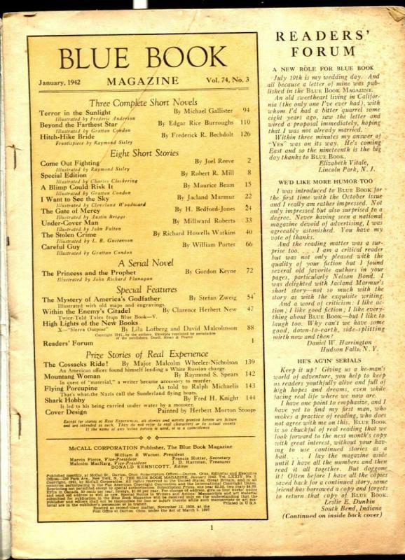 Blue Book Pulp 1/1942- Beyond Farthest Star-Burroughs