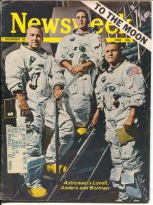 Newsweek 12/30/1968-moon travel-astronauts Lovell, Borman & Anders-VG