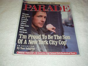 Parade Magazine April 2002 ED BURNS, Bernadette Peters, Ann Strother, Cartoons +