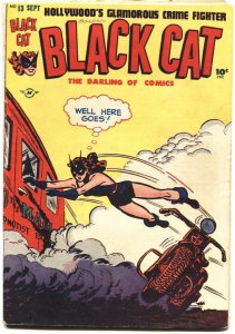 BLACK CAT #13-1948-COMIC & TEXT STORIES-KERRY DRAKE-MOTORCYCLE COVER-LEE ELIAS