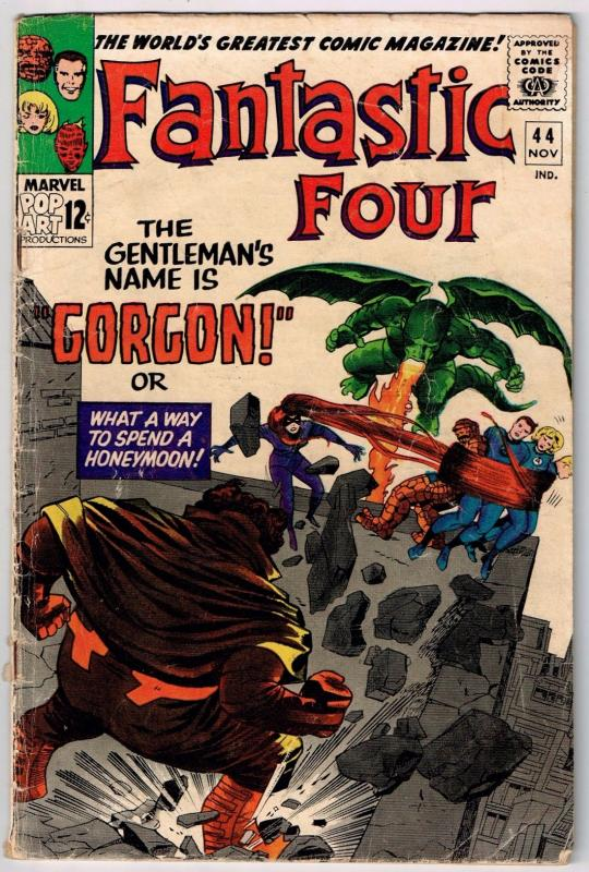 Fantastic Four # 44 VG Marvel Comics Stan Lee Jack Kirby 1st Gorgon Inhumans J37