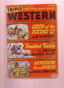 TRIPLE WESTERN--DEC 1948--PULP--FLYING U RANCH STORY VG