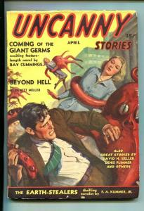 UNCANNY STORIES-#1-APR 1941-PULP FICTION-SOUTHERN STATES PEDIGREE-vf minus