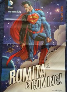 SUPERMAN ROMITA IS COMING  Promo Poster, 22 x 34 DC Unused more in our store 534
