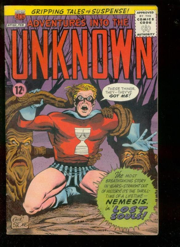 ADVENTURES INTO THE UNKNOWN #162 1966-NEMESIS HORROR AC FN