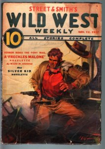 WILD WEST WEEKLY-11/13/1937-PULP-FRECKLES MALONE-SILVER KID FR