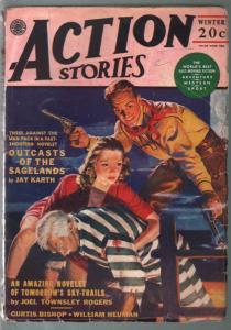 Action Stories-Winter 1943-prison break cover-Nazi epic-Joel Townsley Rogers-VG