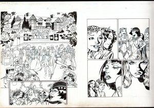 James Frye Original Comic Book Art -HALLOWEEN SCENE-FRANKENSTEIN-SPICY