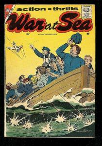 WAR AT SEA #25 1958-CHARLTON WAR COMICS-CLASSIC COVER VG/FN