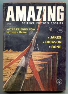Amazing Stories April 1960- Rocket cover- Henry Hesse VG