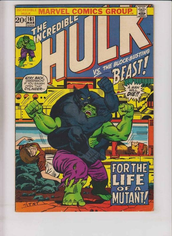 Incredible Hulk #161 FN death of the mimic - with the x-men's beast - englehart