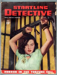 STARTLING DETECTIVE JUN 1947-WOMAN TIED UP ON COVER!!!-PULP-TRUE CRIME G
