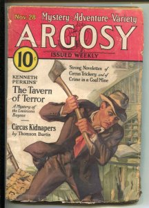 Argosy 11/28/1931-Munsey-coal  mine crime-Circus Kidnapers-pulp stories-VG-