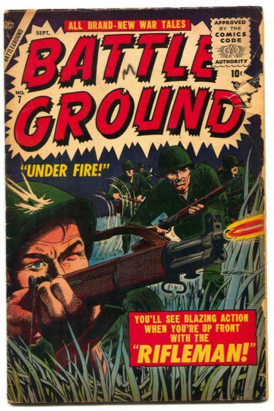Battle Ground #7 1955- RIFLEMAN- Atlas War comic FAIR