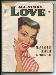All Story Love 9/1954-Popular-pin-up girl cover-Pulp fiction by Lucinda Baker...