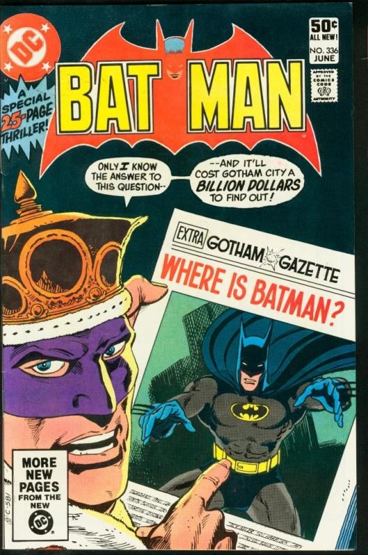 BATMAN #336-1981-DC VF