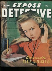 EXPOSE DETECTIVE APR 1946-WILD TRUE CRIME-PULP-MAGAZINE-PHOTO COVER VG