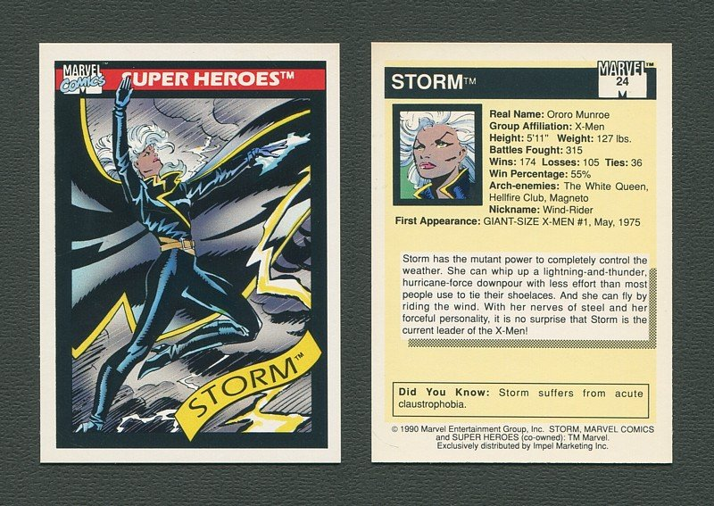 1990 Marvel Comics Card  #24 (Storm) / MINT