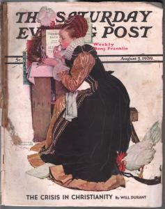 Saturday Evening Post 8/5/1939-Norman Rockwell cover-complete mag-G