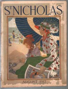 St Nicholas 8/1917-H Ayres cover art-WWI Boy Scout story-ads-FR
