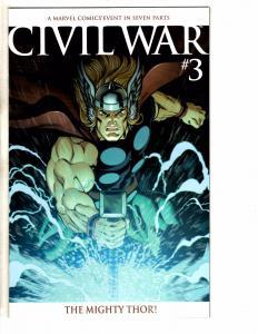 Civil War # 3 NM 1st Print VARIANT Marvel Comic Book Avengers Thor Hulk JH6