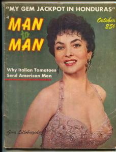 Man To Man October 1957- Gina Lollobrigida- Bubbles Darlene VG