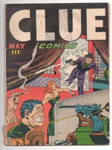 Clue Comics #v2#3 (1947) Great Bondage Cover Last Issue