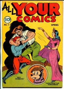 All Your Comics #1 1946-Fox-1st issue-Red Robbins-Merciless the Sorceress-VF