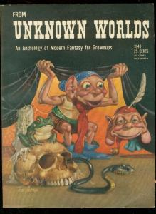 FROM UNKNOWN WORLDS 1948-EDD CARTIER COVER-KUTTNER-PULP FN/VF
