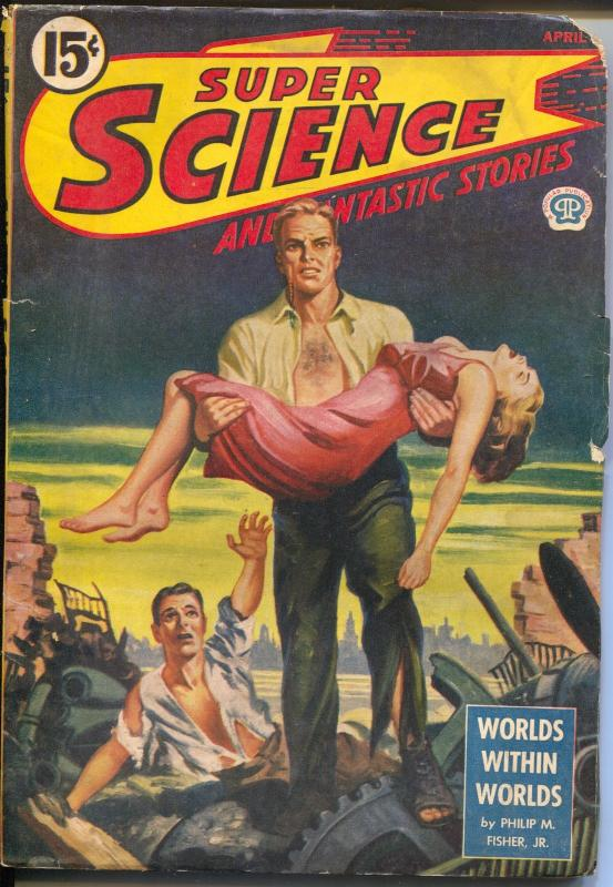 Super Science and Fantastic Stories 4/1945-Popular-Canadian-Hodgson-Chambers-VG