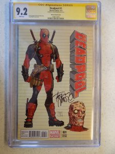 DEADPOOL # 1 MARVEL MOORE VARIANT CGC 9.2 SIGNED TONY MOORE WALKING DEAD