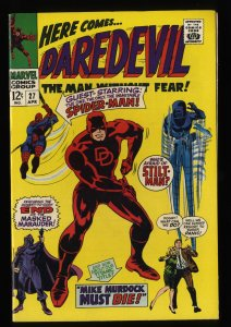 Daredevil #27 VF+ 8.5 White Pages Spider-Man!