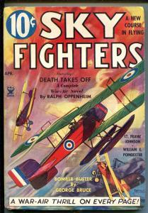 SKY FIGHTERS 4/1935-AIR WAR PULPS-WWI-BI-PLANE/SEAPLANE-fn minus