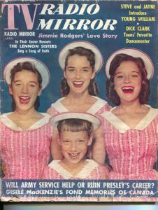 TV Radio Mirror-Lennon Sisters-Elvis Presley-Dick Clark-Gisele MacKensie-Apr-195