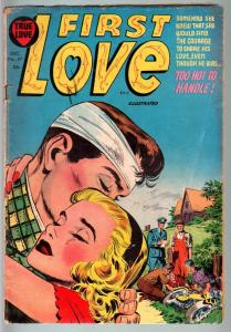 FIRST LOVE #47-1954-MOTORCYCLE CRASH COVER-SPICY POSES-NICE ART-VG CONDITIO VG