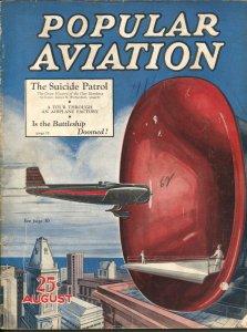 Popular Aviation 8/1931-HR. Bollin fantasy over-Suicide patrol-VG