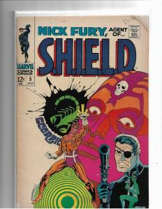 NICK FURY AGENT OF SHIELD #5 - FR/G - CLASSIC STERANKO COVER- SILVER AGE CLASSIC