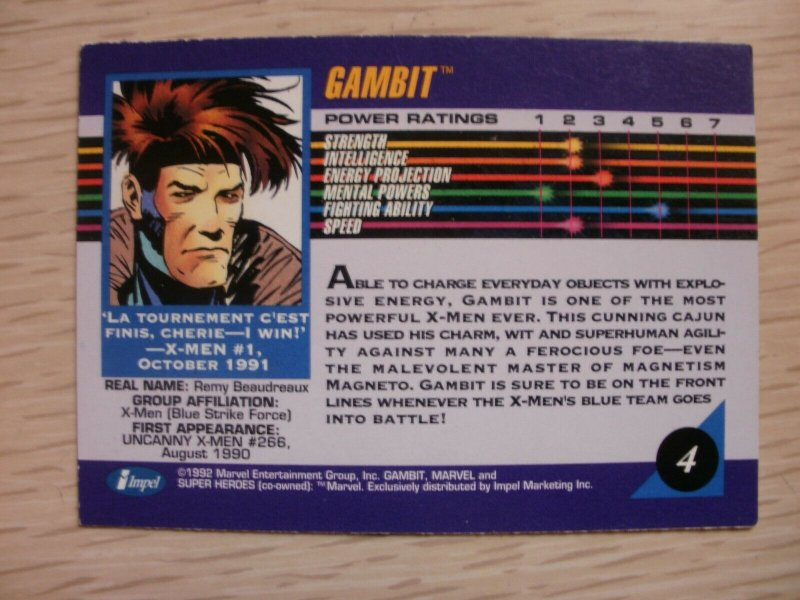 Marvel X-Men Super Heroes Trading Card #4 GAMBIT (1992) Remy (Impel Exclusive)