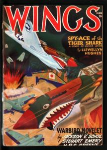 WINGS PULP-SUM 1944-BOMBING JAPANESE ZEROS COVER-WWII FN