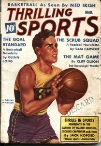 THRILLING SPORTS -- MARCH 1938--WALTER JOHNSON-BASKETBALL-HOCKEY-BOXING PULP