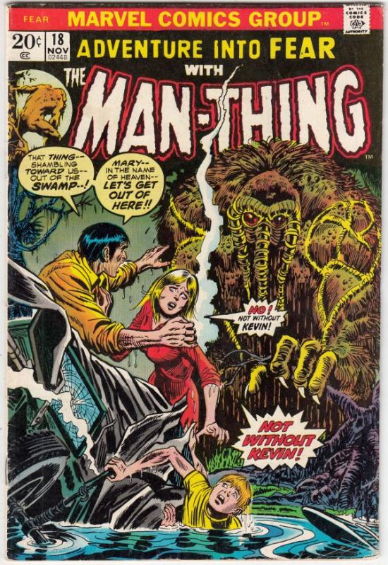 Adventures Into Fear #18 (Nov-73) FN/VF- Mid-High-Grade Man-Thing