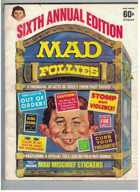MAD FOLLIES (1968) 6 G-VG yet MORE MISCHIEF STICKERS