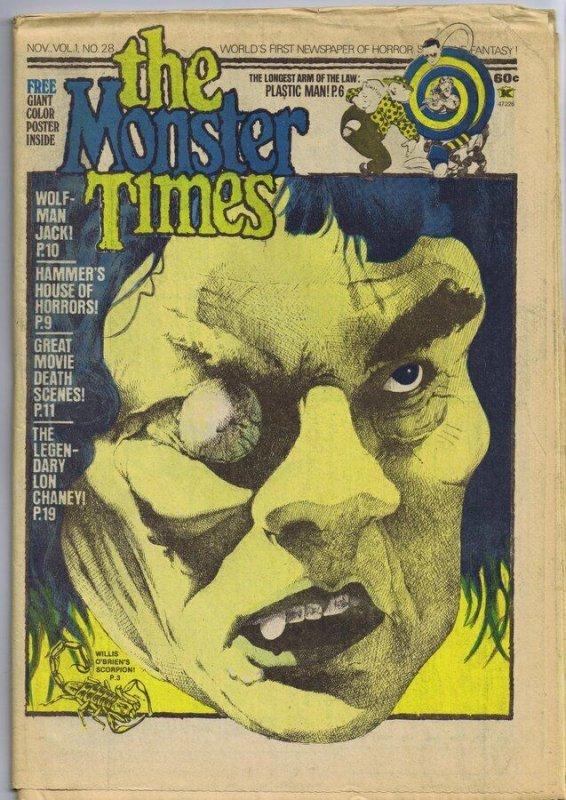 ORIGINAL Vintage 1973 The Monster Times Horror Newspaper Magazine #28
