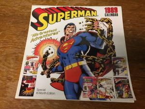 Superman 1989 Calendar Neal Adams Artwork Design Look Famous Covers TWT1